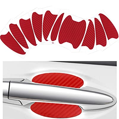 ZaCoo 10 Pcs Carbon Fiber Car Door Cup Protection Film Auto Door Handle Paint Scratch Protection Car Door Cup Guard (Red): Automotive