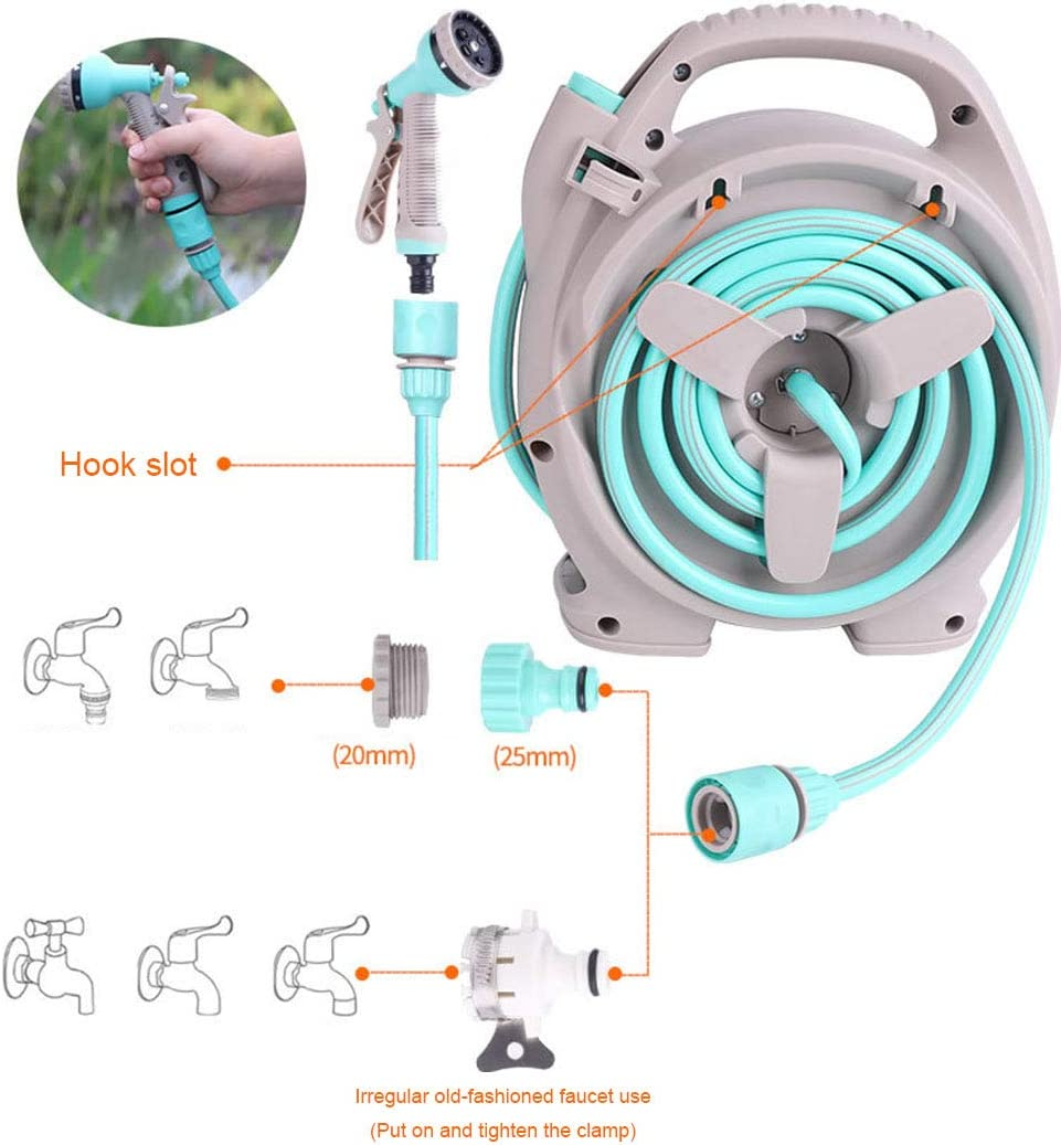 OFAY Portable hose reel wall-mounted hose reel garden hose set includes 15M hose and adjustable nozzle,Pink Pink