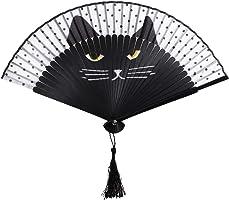 OULII Women Cartoon Cat Folding Silk Fan Handheld Fan (Black)