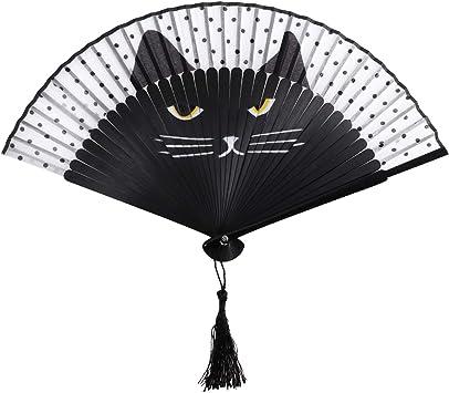 Amosfun Lindo Gato Abanico Abanico Abanico de Seda con Ventilador de bambú Personalidad Mini Abanico Plegable para Mujeres niñas (Negro): Amazon.es: Juguetes y juegos