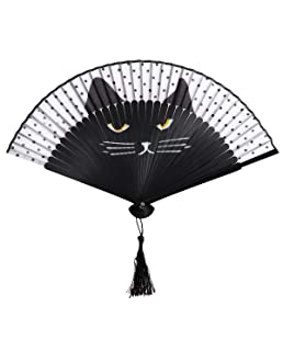 OULII Women Cartoon Cat Folding Silk Fan Handheld Fan (Black)