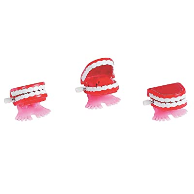 Fun Express - Wind-Up Chomping Teeth - Toys - Character Toys - Wind Ups & Paratroopers - 12 Pieces: Toys & Games