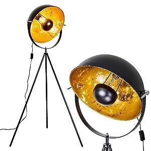 Lampadaire trépied Saturn en métal de couleur noir / doré - Luminaire de style industriel - Projecteur ambiance cinéma - Lampe vintage avec hauteur réglable