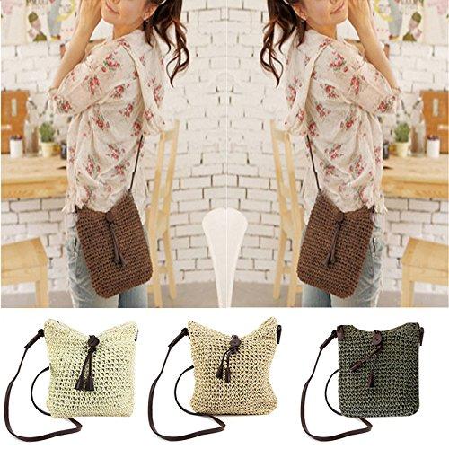 Cute Crochet Straw Sling Bow Handbag White Purse Donalworld Shoulder Summer Women Beach EqZgZO