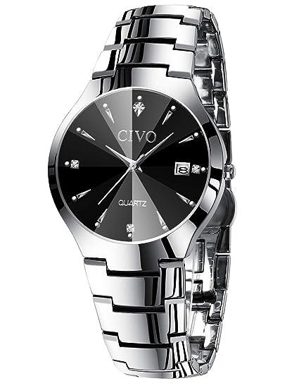 Relojes para Hombres Reloj de Acero Inoxidable Negro Clásico Analógico Cuarzo Fecha de Negocios Calendario Vestido de Moda Clásico Diseñador Simple ...