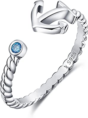 Sterling Silver Anchor and Rope Ring with a Blue Cubic Zirconia Crystal