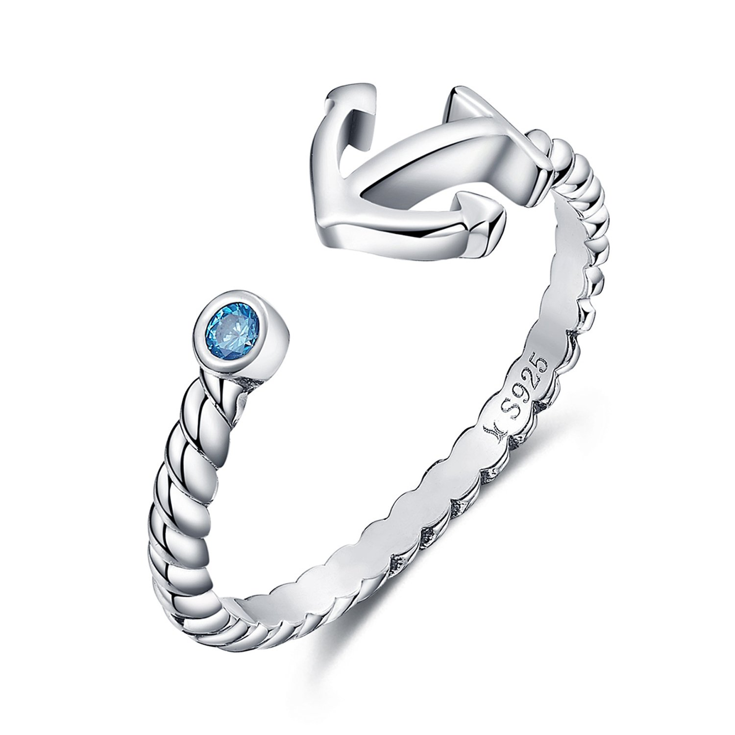 925-Sterling-Silver-Nautical-Anchor-Blue-Birthstone-CZ-Ring-Expandable-Open-Ring-Adjustable-Women-Jewelry
