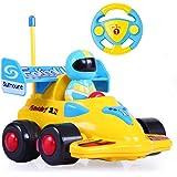 Team R/C Cartoon R/C Formula Race Car Radio Control Toy for Toddlers (Yellow)
