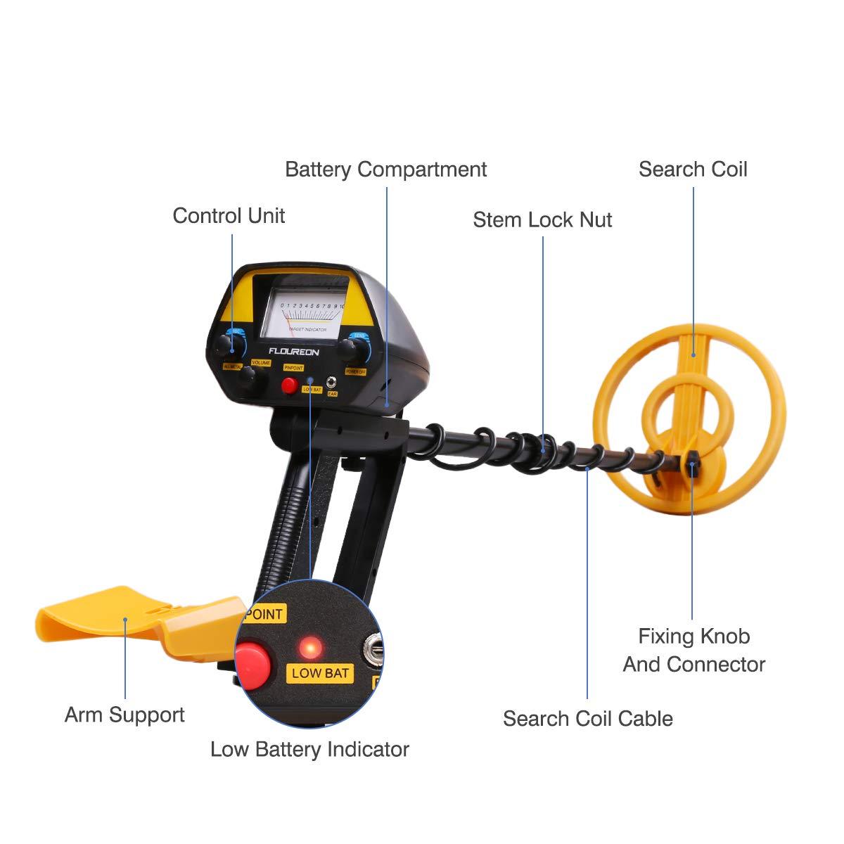 FLOUREON Detector de Metales, Detector de Metales Profesional, Alta Sensibilidad Ajustable, Alta Sensibilidad Bobina Impermeabl Uso para Aventureros y para ...