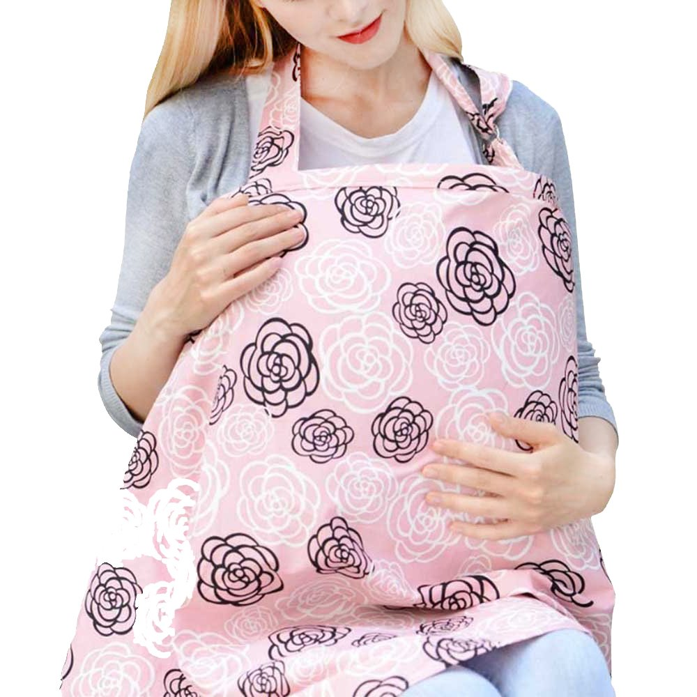 Espoy Breastfeeding Scarf Nursing Cover Udder Mums Apron Shawl Infant Blanket Carseat Canopy with Storage Bag