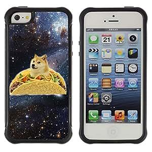 ZAKO Cases / Apple Iphone 5 / 5S / Space Taco Doge Dog Shiba / Robusto Prueba de choques Caso Billetera cubierta Shell Armor Funda Case Cover Slim Armor
