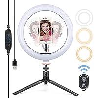 """Yoozon Luz de Anillo LED 10"""" fotográfica de Escritorio, Control Remoto Bluetooth, Altura Ajustable trípode con Soporte de teléfono para Selfie, Maquillaje y Youtube,3 Colores 10 Brillos Regulables"""