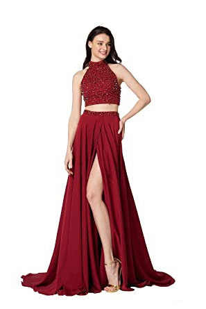 Two Pieces Prom Dresses 2018 Side Split High Neck Crystal Beads Evening Dress 2018 at Amazon Womens Clothing store: