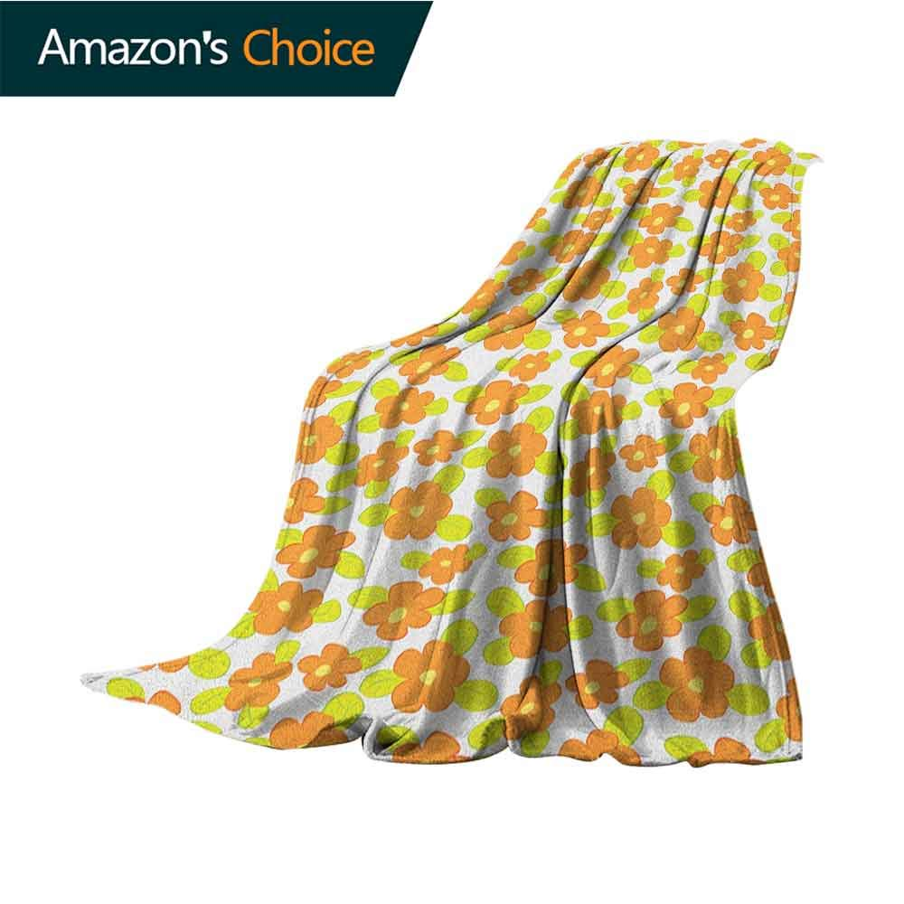 Orange Soft Blanket Microfiber,Kids Theme Cute Girlish Pattern with Doodle Flowers and Green Leaves Microfiber All Season Blanket for Bed or Couch,60'' Wx70 L Orange Apple Green Yellow