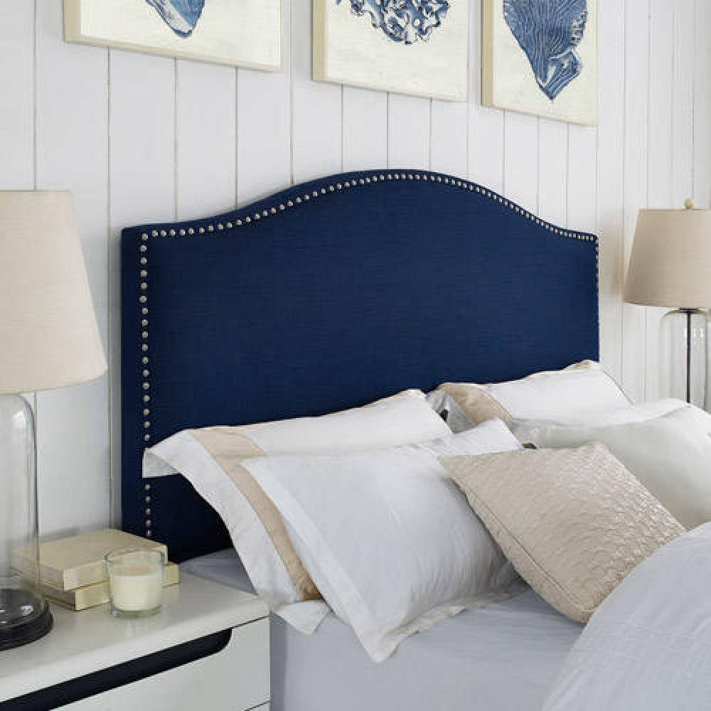 amazoncom better homes and gardens grayson linen headboard with nailheads fullqueen navy