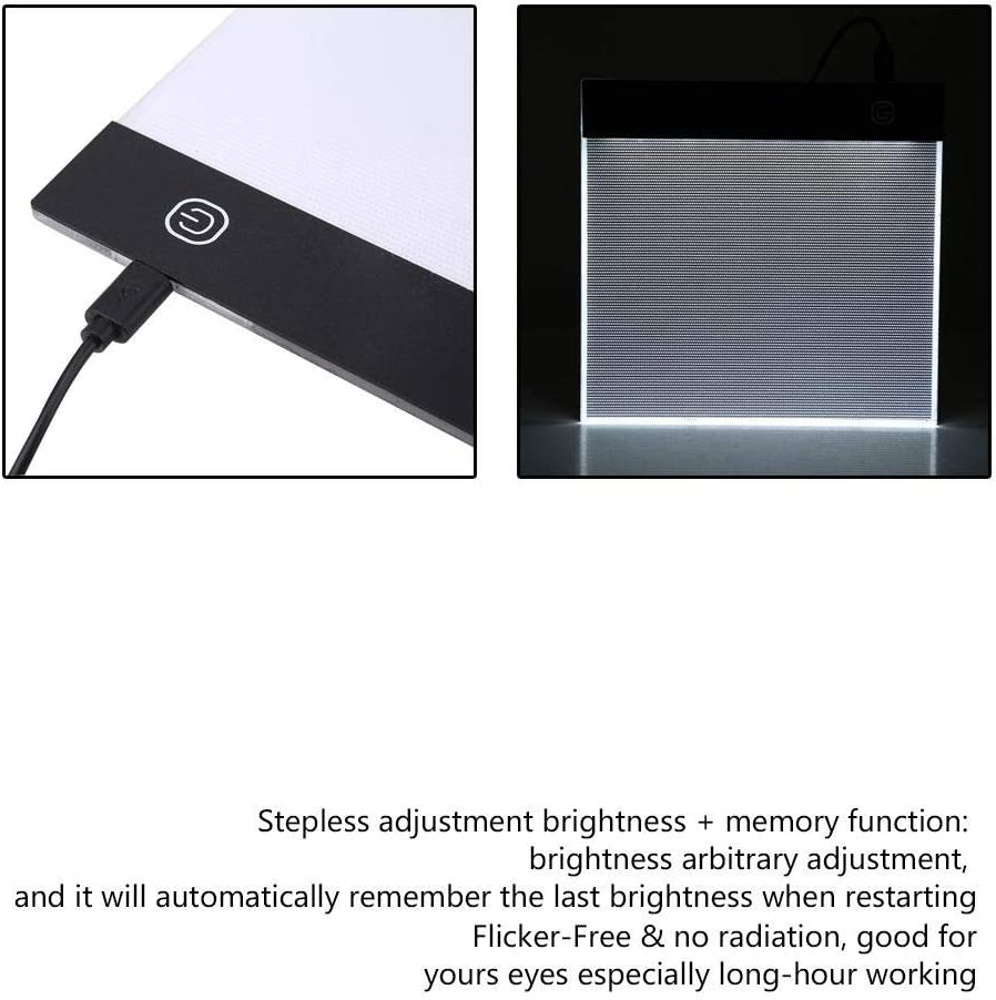 LED Tracing Light Box Yevenr Durable LED Tracing Light Box Board Adjustable A5 Drawing Copy Pad A5 Copy Table LED Copy Pad with USB Cable