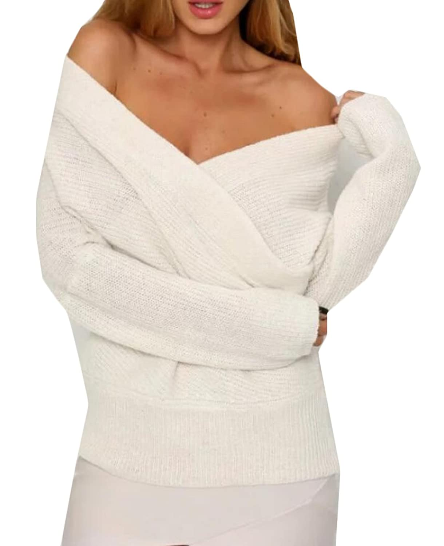 Vska Women's Casual Solid Color Deep V-neck Pullover Sweater