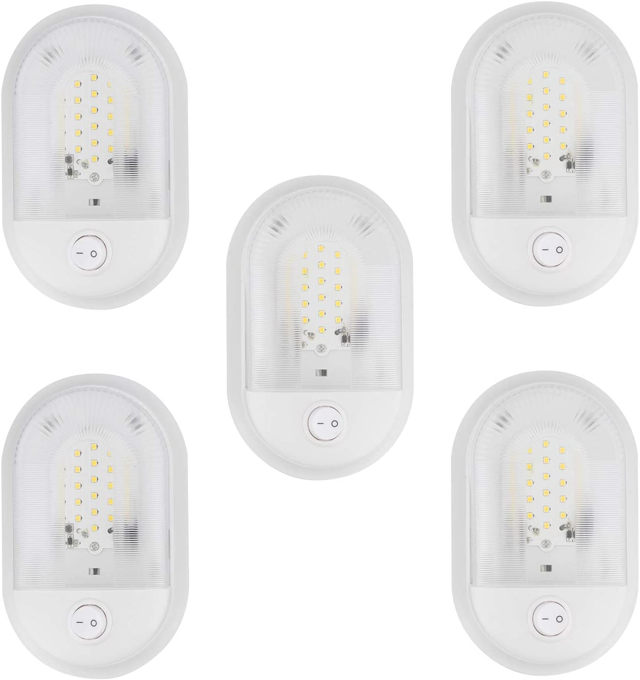 Soft White Dumble 12 Volt RV Light Fixtures 5 Pack Single Dome Interior LED Dome Lights Camper and RV LED Fixtures