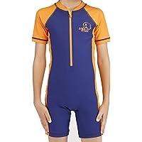 Karrack Boys Rash Guard UPF 50+ Short Sleeves One Piece Swimsuit for Grils Kids Water Sport