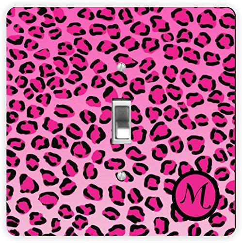 Rikki Knight RK-LSPS-2560 Letter M Initial Hot Pink Leopard Print Monogrammed Design Light Switch Plate Cover (2560 Print)