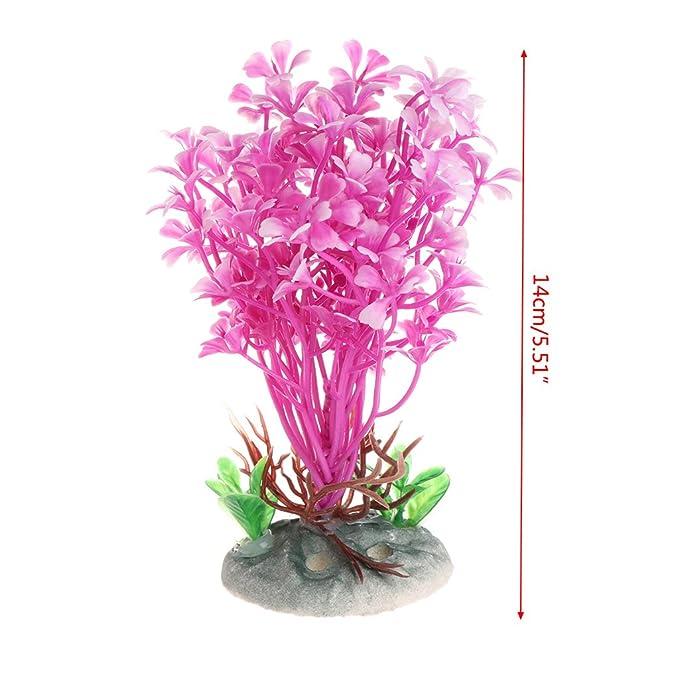 Daxibb Plantas acuáticas Dabixx Pink Sea Flower Artificial Fish Tank Acuario en Primer Plano Decorar: Amazon.es: Hogar