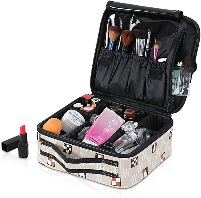 NICOLE & DORIS Bolsa de maquillaje portátil Organizador de maquillaje Estuche de maquillaje de viaje Separadores ajustables Bolsa de cosméticos Impermeable Blanco crema: Amazon.es: Belleza