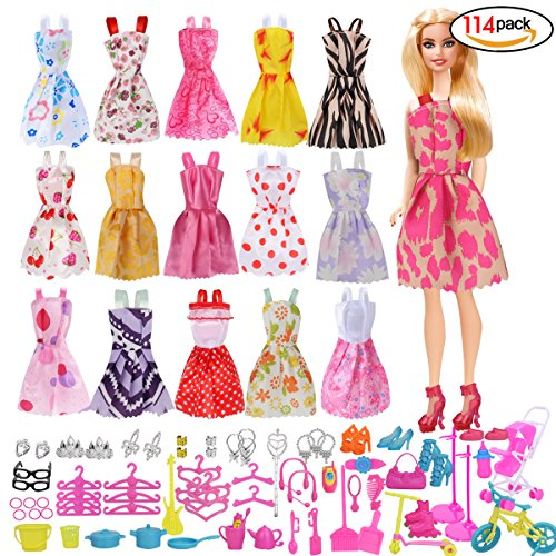 fc06b890e7fd1 Rocita Barbie Accessories バービー人形 服 ドレス アクセサリー 超豪華セット ワンピース16枚+