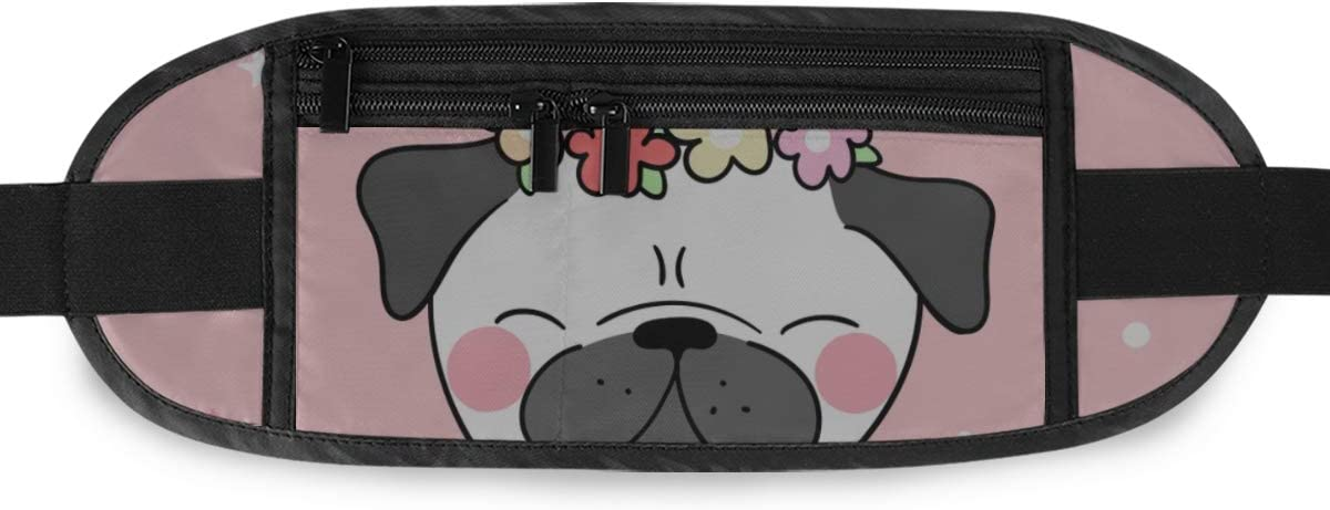 Draw Cute Pug Flower Running Lumbar Pack For Travel Outdoor Sports Walking Travel Waist Pack,travel Pocket With Adjustable Belt