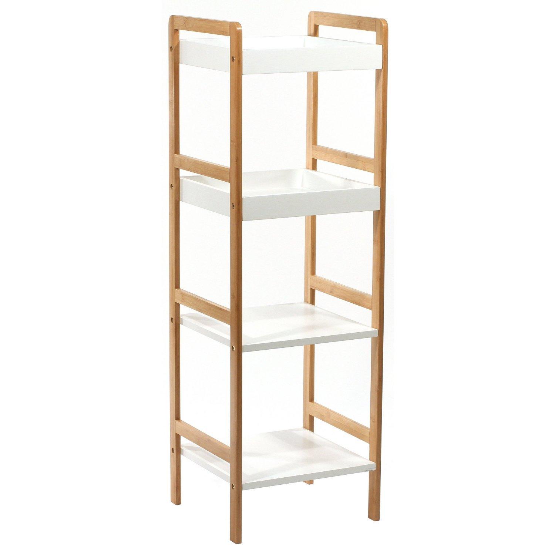 meuble tagre 4 niveaux en bambou finition vernis amazonfr cuisine maison