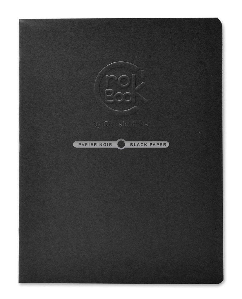 Clairefontaine 60314C Crok'Book Quaderno da Disegno con Carta da Schizzo, 17 x 11 cm, 20 Fogli, Nero
