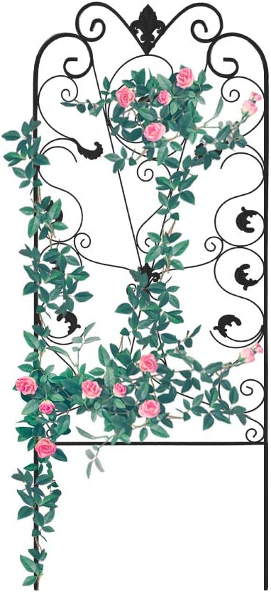 Garden Trellis for Climbing Plants 60 x 24 Rustproof Black Iron Potted Vines Vegetables Flowers Metal Wire Lattices Grid Panels for Ivy Roses Cucumbers Clematis Pots Supports