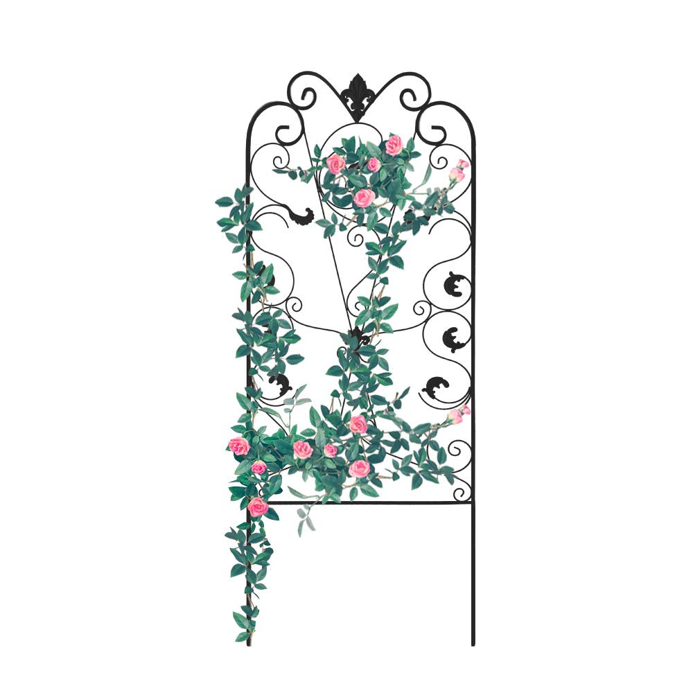 GrayBunny GB-6900BL3 Garden Trellis for Climbing Plants 60 x 24'' Rustproof Black Iron Potted Vines Vegetables Flowers Metal Wire Lattices Grid Panels for Ivy Roses Cucumbers Clematis Pots Supports