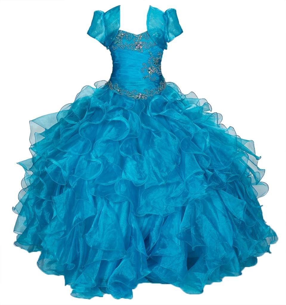AkiDress Multi Ruffled Organza Dress with Bolero Jacket for Big Flower Girl Turquoise 10