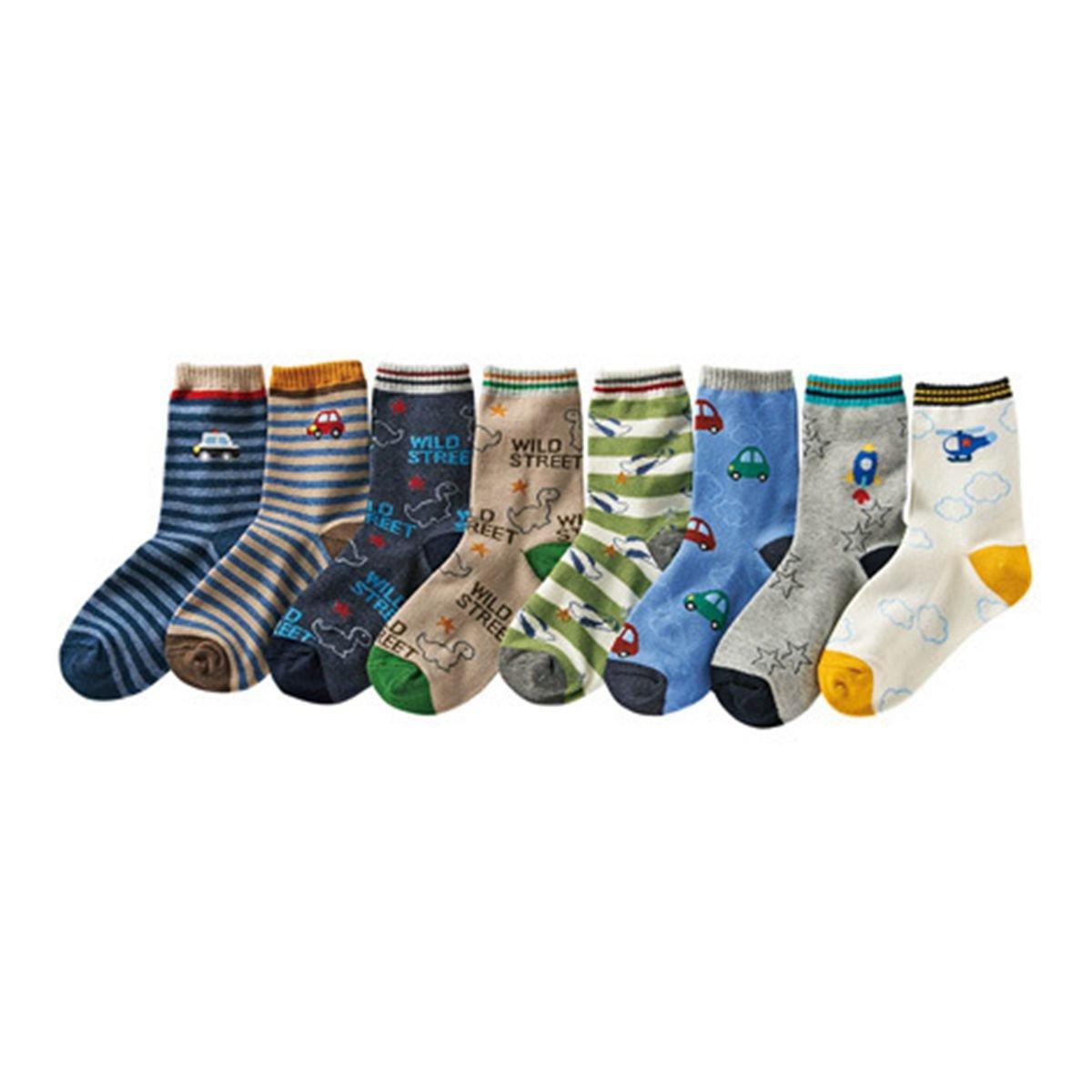 Boys Short Socks Fashion Cartoon Dinosaurs Cotton Basic Crew Kids Socks 10 Pair Pack