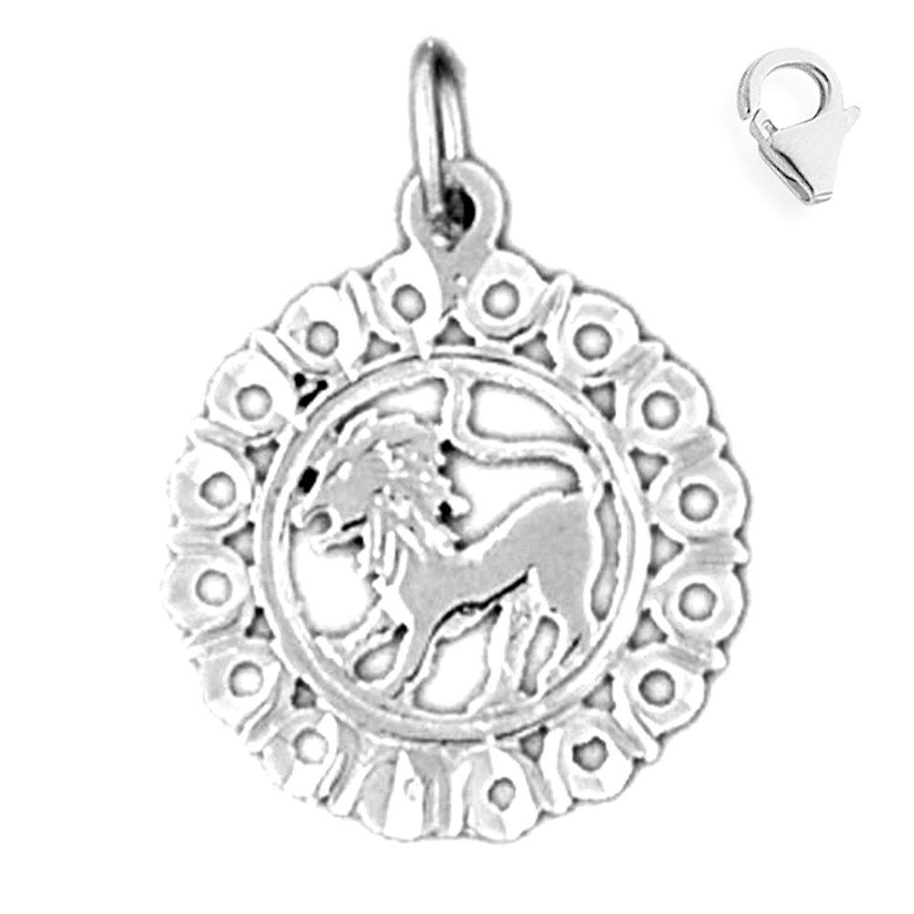 Jewels Obsession Zodiac Sterling Silver 21mm Zodiac Leo with 7.5 Charm Bracelet Leo Pendant