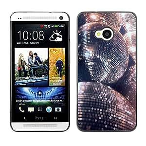 TopCaseStore / la caja del caucho duro de la cubierta de protección de la piel - Glitter Silver Ball Dance Party - HTC One M7