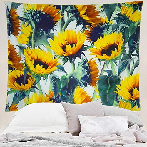 Grace store Boho Wall Tapestry Yellow Sunflower Tapestry Wall hanging Mandala Tapestry for Bedroom, W59 x L51 ()