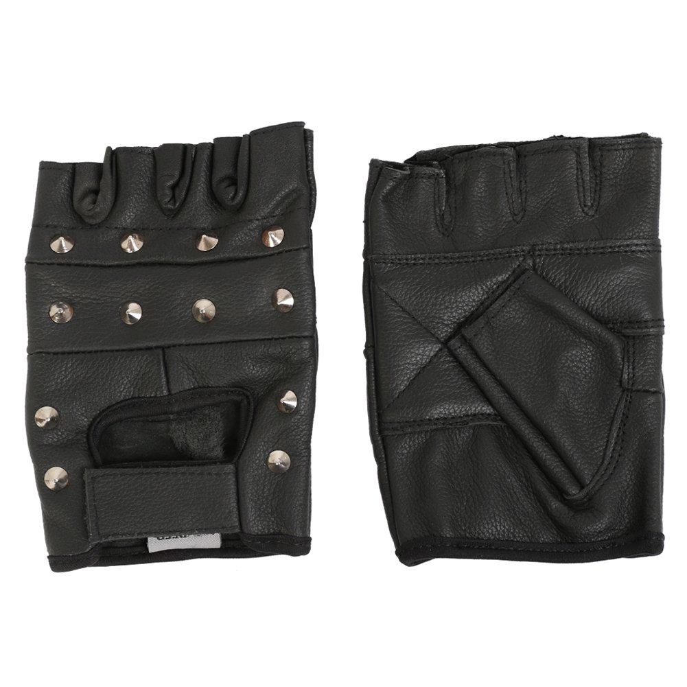 Biker Gloves Fingerless Studded Black Leather Motorcycle