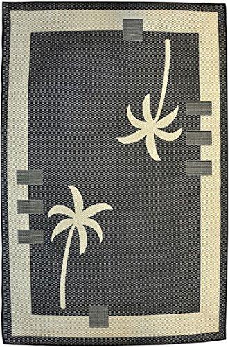 TOPHILL Modern Tropical Palm Tree Indoor Outdoor Doorway Mat Rug Hill Top Design H9 Beige Black (19 inch X 31 (Black Hills Tree)
