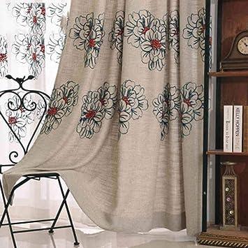 Home Curtain Cortinas Opacas Bordado de la Toalla Algodón Lino Paño Espesar Generoso para Cortinas de la Ventana Producto Terminado Top de Ojal Un Panel ...