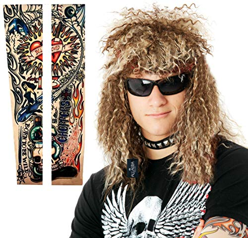 3pc 80s Mens Rocker Wig + Tattoo Sleeves Costume Set Curly Punk Mullet Wigs ()