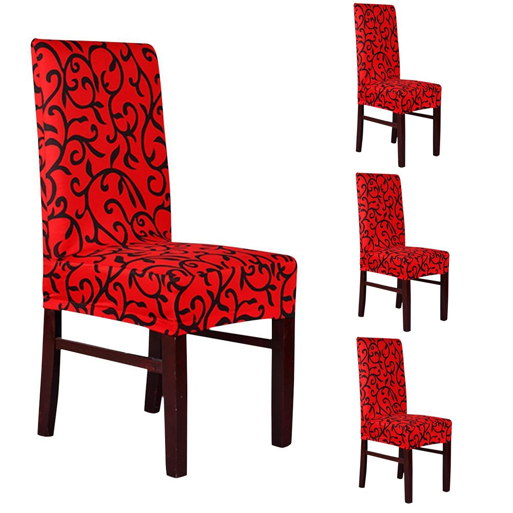 Deisy Dee Stretch Removable Washable Short Dining Chair Protect Covers Slipcover (Pack of 4) (red and black)