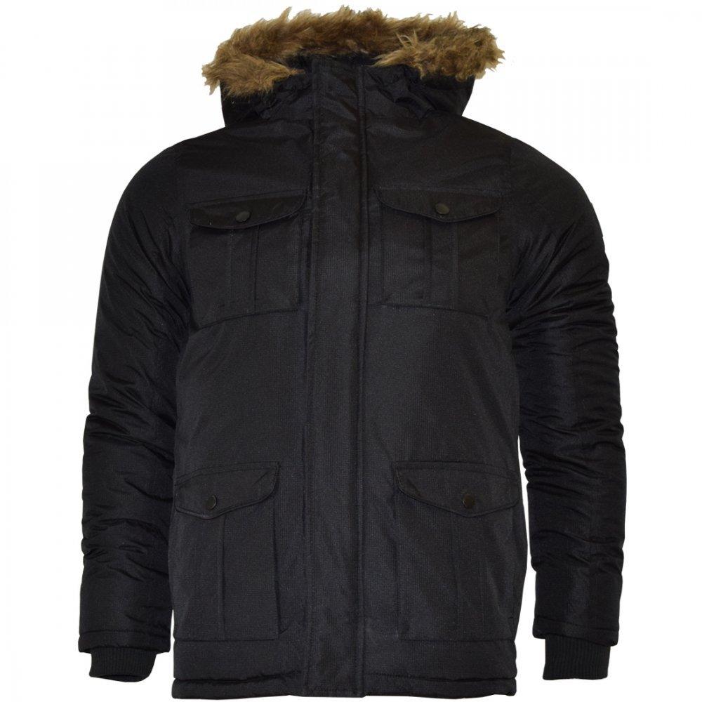 Brave Soul Childrens Boys Padded Waterproof Winter Coat School Parka Jacket- Blue Black