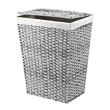 Whitmor Hamper with Liner and Lid, Gray Wash