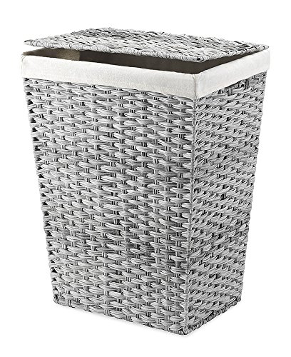 Whitmor Liner and Lid Laundry Hamper, Gray Wash - The linen lining is removable to easily carry a whole load of laundry to the washing machine Lidded hamper with removable and washable liner; hinged lid keeps dirty clothes out of sight A stylish way to store laundry in bathroom, bedroom, laundry room or closet - laundry-room, hampers-baskets, entryway-laundry-room - 61DlH YIEkL -