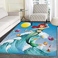 Mermaid Anti-Skid Area Rug Illustration of Cute Little Mermaid on top of a Big Wave in the Surf with Fish Kids Door Mat Increase 3x4 Multicolor