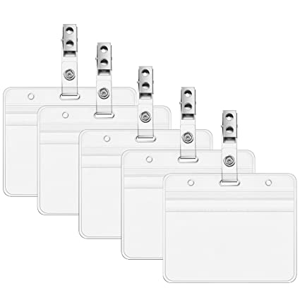 a3e84bfe2d04 Chuangdi 30 Pieces Clear PVC ID Card Holders Name Tag Holders and 30 Pieces  Metal Badge Clips with Vinyl Strap