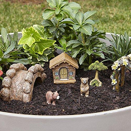 Essential Garden Fairy Garden Kit~ BABY BEARS & CABIN SET ~ 7 Pc Figure (Essential Garden)