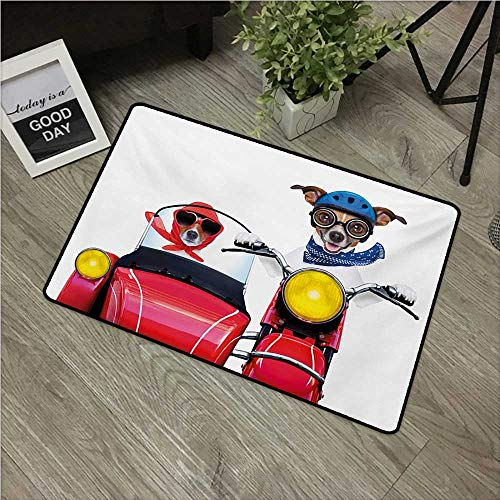 Anzhutwelve Dog Driver,Personalized Door mats Jack Russell Terriers on a Vintage Motorbike with Helmet and Scarf Funny Design W 20