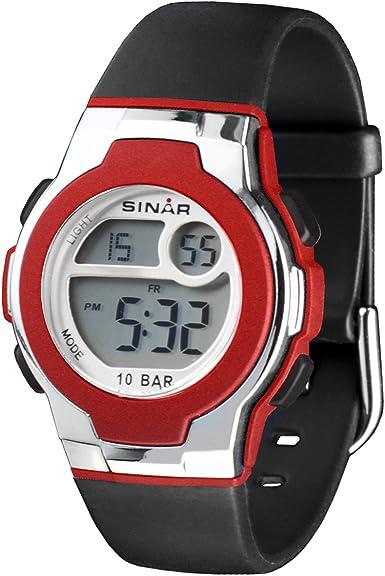 SINAR Reloj juvenil digital rojo 10 bar XF-60-4
